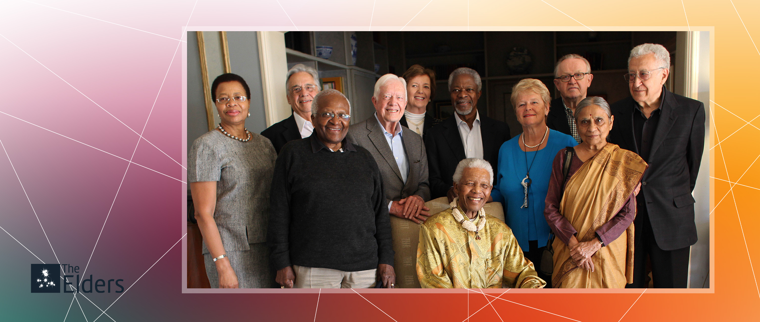 Group portrait of all Elders gathered around Nelson Mandela