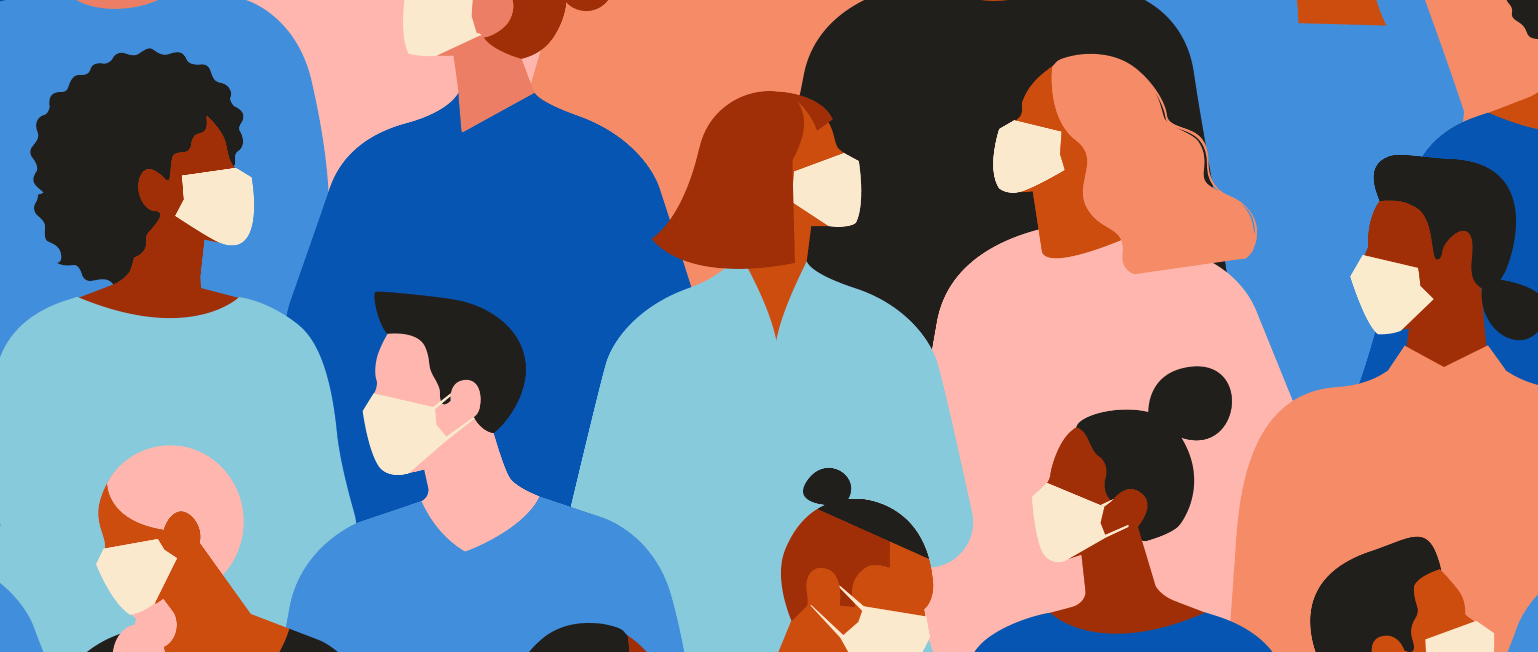 illustration of many human faces, of all hues, wearing face masks