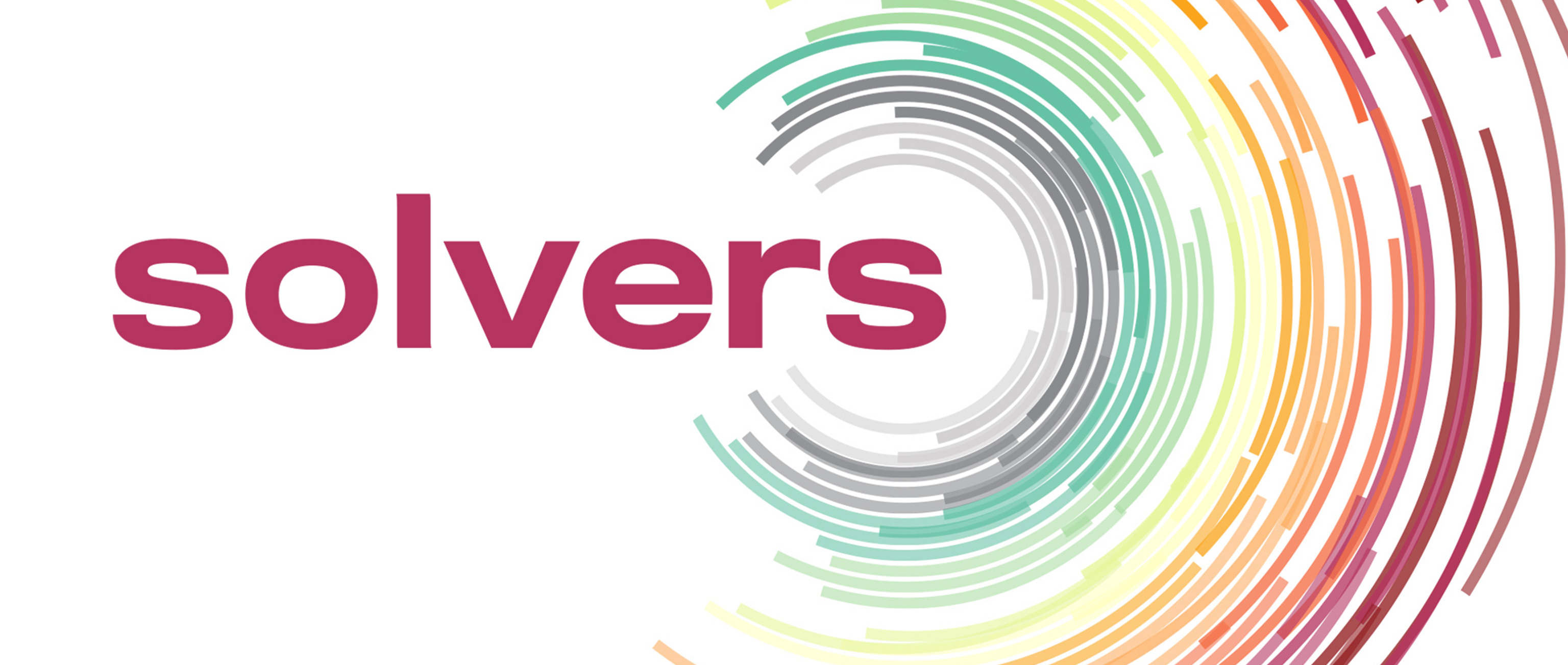 A graphic illustration of word 'solvers' surrounded by dozens of concentric, multicolored, circles made of partially broken lines