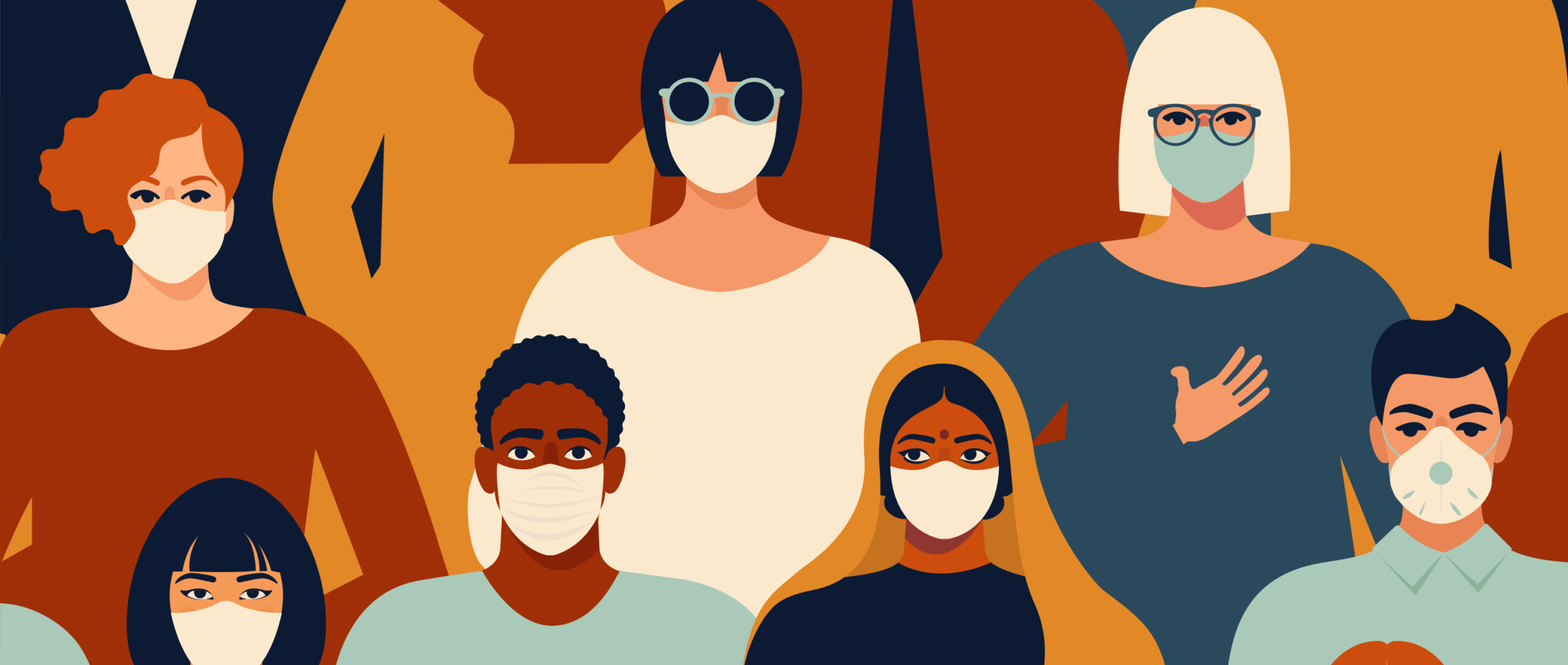 Illustration of a group of people wearing protective masks